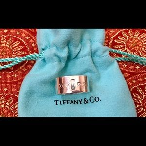 Tiffany & Co Silver And Diamond Key Hole Wide Band